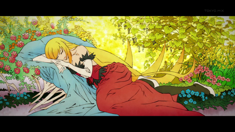 monogatari-series-second-season-shinobu-oshino-kissshot-acerolaorion-heartunderblade-vampire-god-sleeping